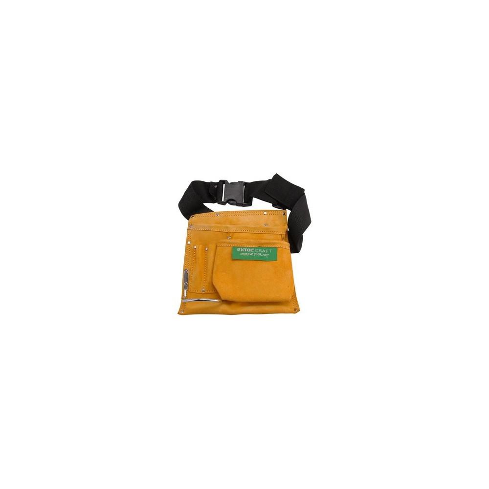 Jednodielna kožená brašňa na náradie, 5 vreciek Extol Craft