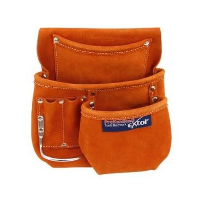 Jednodielna kožená brašňa na náradie, 6 vreciek Extol Premium